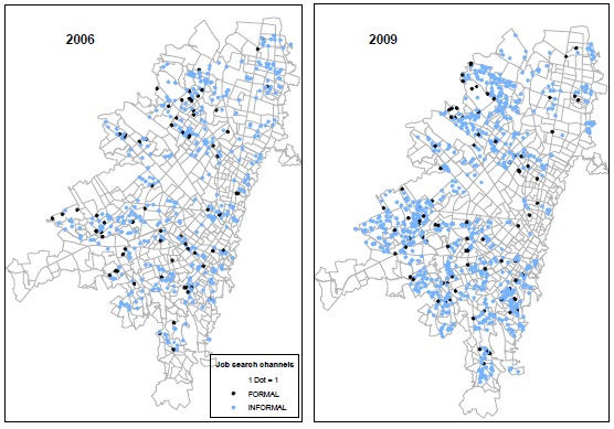 Location of workers at city block level for Bogotá distinguishing between job search channels